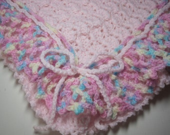 Pink Baby Blanket, Baby Girl, Pink with Pastel Ruffles, Baby Afghan, Baby Shower, Baby Blanket