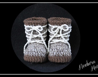 Crochet Pattern for Boys or Girls All Tied Up Baby Booties. Pattern number 034. Instant Download