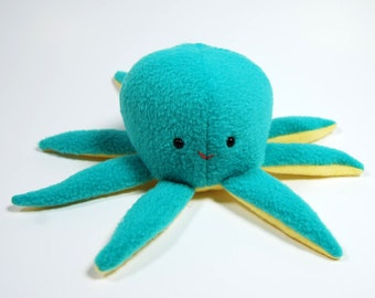 Cute Octopus Plush, Teal and Yellow Octopus Stuffed Animal
