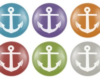 Custom Anchor Hand Painted Drawer Pull, Nautical Drawer Knob, Anchor Knob