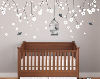 Nursery Hanging Blossom Branches Wall Stickers Decals