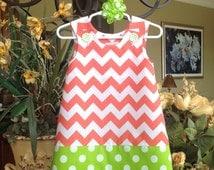 Coral Medium Chevron and Lime Dots Dress (girls, baby, toddler, infant, child) Easter, Spring, Summer,  jumper or sundress
