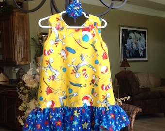 THE ANNA - Dr. Seuss Yellow Cat in the Hat Dress with Ruffle, (baby, girls, toddler, infant, child) Jumper or Sundress