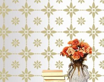 Flower stencil for wall, DIY wall décor stencil, Reusable stencil