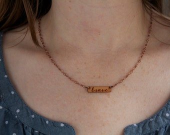 Necklace for women, bar necklace, custom necklace, brave, custom name necklace, womens necklace, for her, Valentines Day