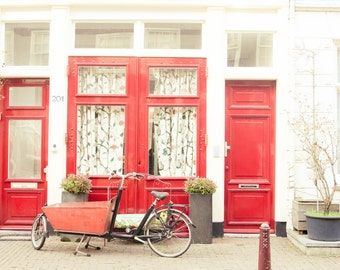 Red Doors and Bike Photography, Amsterdam, Landscape Photography, Wall Art, Red and White, Street Photography, Fine Art Photography