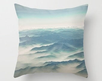 French Alps Throw Pillow Design, Travel Photography, Blue and White, French Mountains, Landscape Photography, Home Decor, House warming gift