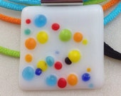 Colorful Bubbles Fused Glass Necklace