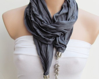 Gray Jewelry Scarf - Headband - Necklace - Combed Cotton Scarf - Infinity Scarf - New Season - Long Scarf