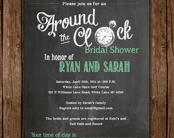 Around the Clock Bridal Shower Invite - Custom