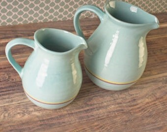 Hand-painted jug in duck egg blue stripe
