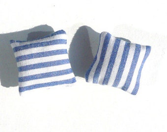 1:12 Set of 2 Miniature dollhouse pillows - blue and white striped