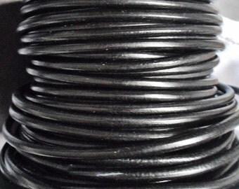 Per 2 feet 4mm Black European Round Leather cord