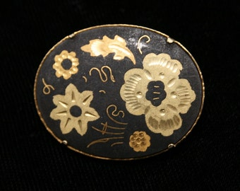 FREE SHIPPING Damascene Brooch with Etched Flowers