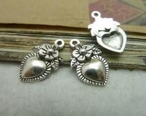 50pcs 19x12mm Antique Bronze/ Antique Silver Heart Charms Pendants Jewelry Findings AC7265