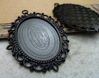 5PCS 30x40mm Oval Bezel Cup Cabochon Mountings Pendant Trays Jewelry Findings 5 Colors are Available AC7387