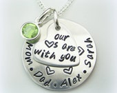 Support Inspiration handstamped personalized jewelry - daughter, college hearts are with you