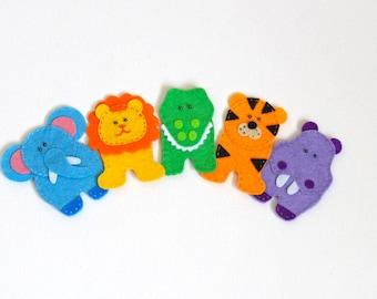 Felt finger puppets Zoo Mates - set of 5