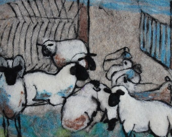 "Felted wall hanging ,,Sheep"". Animal. Handmade, needlefelted, picture, wallhanging, made to order"
