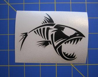 Fish Skeleton 4x3  Vinyl Sticker - Decal