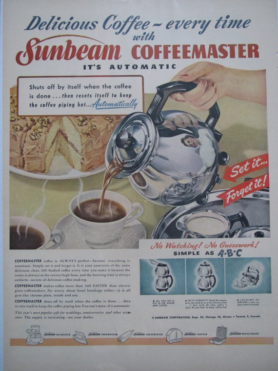 Vintage Sunbeam Coffeemaster Coffee Pot Advertisement