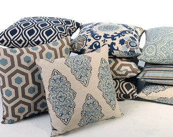 Blue and Gray Decorative Throw Pillows 8 Fabrics and 7 Sizes Accent Pillow-84BD
