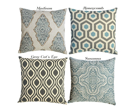 Light Blue Patterned Throw Pillow : Light Blue and Grey Linen Decorative Zipper pillow by Pillomatic