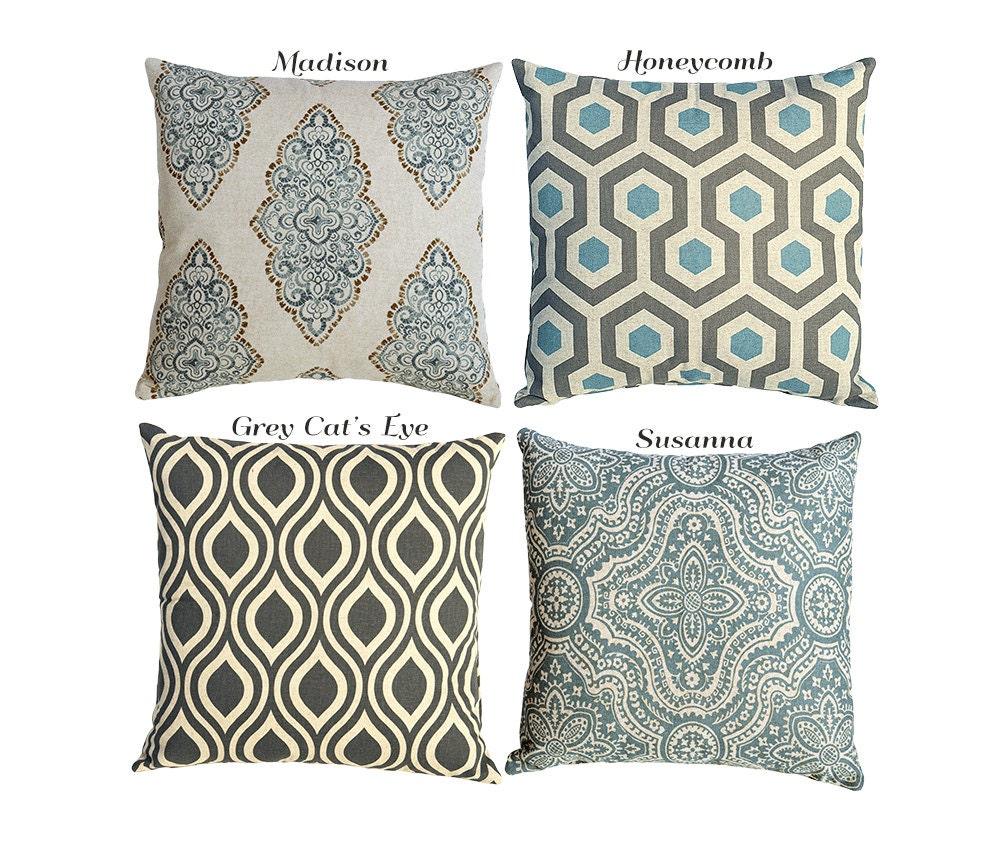 Decorative Pillows With Zippers : Modern Neutral and Blue Linen Decorative Throw Zipper Pillow