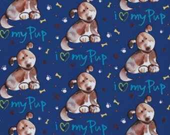 Kathy Davis Paw Prints Luv my pup blue tan 0,5 m USA fabric pure cotton Children Puppies dogs dog animalprint