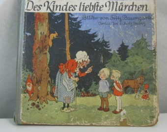 "10% OFF: Antiquarian. Magical FAIRY BOOK ""The child's favorite fairy tales"" (Language German). Fritz Baumgarten. Probably 40s. Vintage"