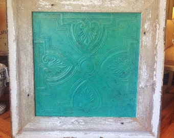 Salvaged Frame & Vintage Tin Wall Decor