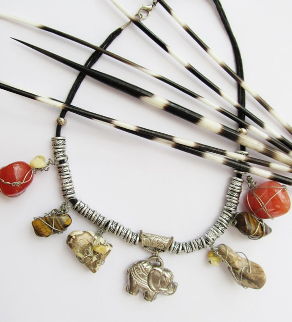 African healing semi precious stones necklace. Jasper, Tiger's Eye. Carnelian, silver plated elephant  charm