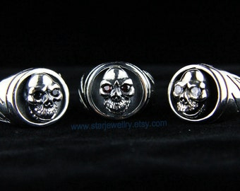 Steampunk large 2D skull carving skull ring with Red eyes---925silver ring