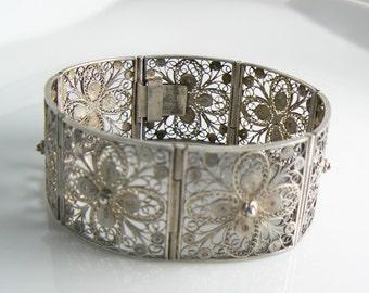 Vintage Fine Silver Filigree Hinged Bracelet  Unique vintage, antique, costume and estate jewelry.