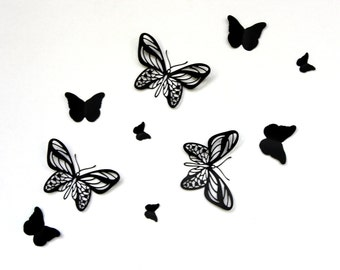 Halloween decorations, Black Butterflies, Butterfly Wall Art, Paper Butterflies, Butterflies, 3D Wall Decor, 3d Butterfly art, Wall decor