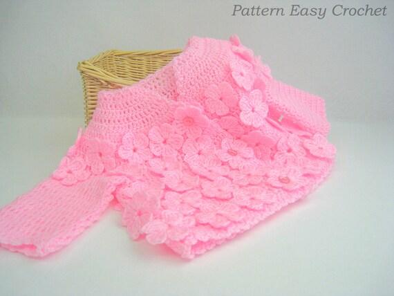 Baby cardigan floral crochet pattern pattern PDF instant