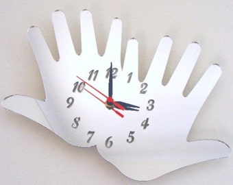 Pair of Hands Clock Mirror - 2 Sizes Available