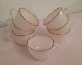 Timeless White with Gold Anchor Hocking LOVELY Teacups Set of SEVEN 7