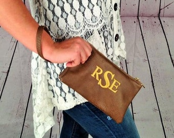 Monogram Clutch Purse/  wristlet clutch purse/ monogram purse
