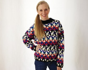 Vintage Abstract Sweater - Geometric Sweater - Chunky Sweater - Oversized Sweater - Large - Aztec Sweater - Tribal Sweater - Slouch Sweater
