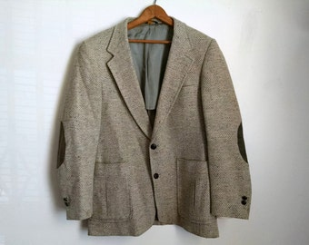 Vintage Grey Wool Blazer with Elbow Patches by Carlin