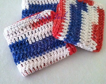 3 Hand Crochet Dishcloths READY TO SHIP Cotton Dishcloths Crochet Dish Cloths Crochet Dish Towel Red White Blue