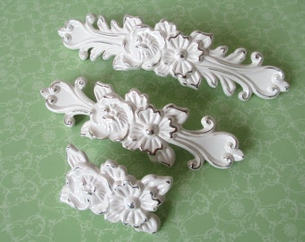 "3.75"" 5"" Cream White Dresser Pulls Drawer Pulls Handles Knobs Cabinet Handles Door Shabby Chic Silver Rose Flower Blossom Decorative 96 128"