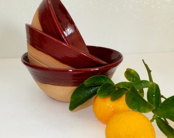 Country Brick Red Ceramic Bowl Set, Rustic Farmhouse Nesting Bowls