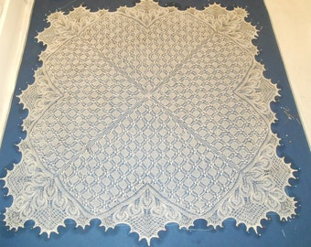 Hand Knitted Lace Bridal / Christening Shawl in Silk and Baby Alpaca. MADE TO ORDER