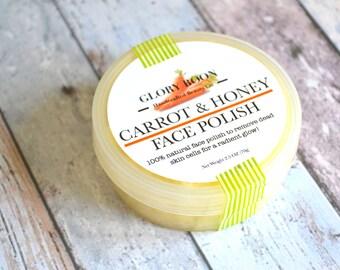 Carrot facial polish, natural facial scrub, bath and beauty, skincare, natural sugar scrub with carrot and honey