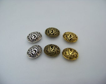 Tibetan Ellipse Shaped Hollow Spacer Beads   Finds/3051