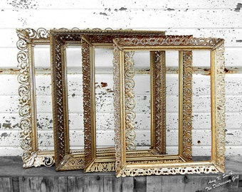 Ready to ship ONE 5 By 7 Gold Metal Frame Ornate Random Frame Vintage Antique Filigree Picture Frame 5x7 gold metal frame Ornate