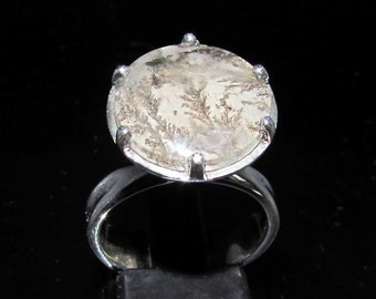 sterling silver gemstone ring with a huge round dendrite 10.5 ct marked 925 size 7 (GR109)