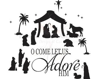 "Adore Him Nativity Vinyl decal - 11""x11"""